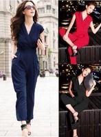 women new fashion 2014 summer spring jumpsuit elegant overall Navy Blue Black Red Work wear Slim High Street Playsuits Bodysuit