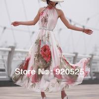 New Free shipping women's chiffon long beach big hem  Summer  sundress Elegant BoHO Lotus Leaf  Maxi long Flowers Dress Q8011
