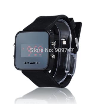 high quality ,led Mirror watch,silicone  sports watch, Mirro wrist quartz watch, Free shipping