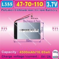 [L355] 3.7V,4500mAH,[4770110] PLIB ( polymer lithium / Li ion battery ) for tablet pc,power bank,gps,