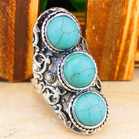 Vintage Look Tibet Silver Alloy Retro Craft Three Stone Adjustable Turquoise Rings R307