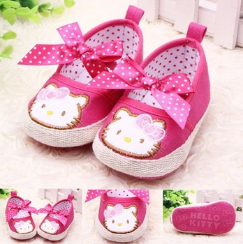 Free shipping 2014 Rose hello kitty princess shoes spring bow baby girl toddler shoes 3 size first walkers A21