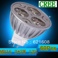 Free shipping 60Pcs/lot  High power MR16  9W AC/DC12V power led bulb led lamp Warm/cool/pure white Real CREE