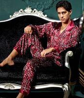 Free shipping   pajamas  Men's silk pajamas Silk pajamas Men's pyjamas Grid pajamas