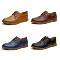 Free shipping men leather shoes male casual shoes Genuine leather Flats Oxfords Shoes Low Men's Lace Up Shoes