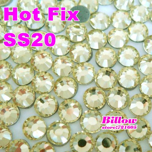 Free shipping!DMC Hot Fix bag rhinestone,Jonquil,ss20(4.8-5.0mm) 1440pcs/bag/lot ,flatback with glue iron-on hotfix stones B0178(China (Mainland))