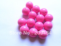 20mm100pcs/lot Bright Pink Acrylic Round Beads,Acrylic Solid Beads,Chunky Beads For Necklace