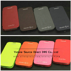 Battery Housing Leather Case For Samsung Galaxy S4 I9500 SIV Back Cover Flip, 10 colors with Retail Packing + Factory Stock(China (Mainland))