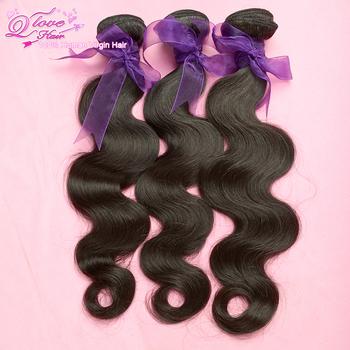 3pcs/lot Q Love malaysian virgin hair  body wave hair extension,unprocessed hair,natural color,Free shipping!