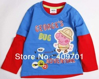 FREE SHIPPING A3213#  kids wear boys  hot Peppa Pig appliqued cotton sweater top long sleeve  t-shirt