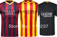13/14 top thai quality #10 MESSI soccer jerseys Players version 11# NEYMAR JR Embroidery logo home football uniforms