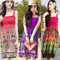 Free shipping Fashion Retro 1960s 1970s Vintage Paisley Print Hippie Bohemian Summer Dress Women Beach Dress