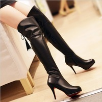 Hot Sale new women's boots brand 100% genuine leather boots fashion high-heeled shoes black cowhide boots female free shipping