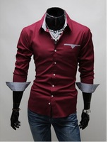 Free Shipping 2012 Brand New style Design Mens Shirts high quality Casual Slim Fit Stylish Dress Shirts mulit ColorsC02