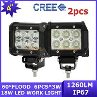 2x Cree led Work light 18W 4x4 12V/24V pick-up AWD SUV Camper Driving lamp 6x3W Car Off-road bar ATV 4WD Vehicle UTV Van Wagon