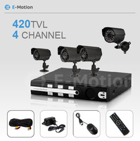 Free Shipping 4CH H.264 CCTV DVR recorder with 4 Security Outdoor Bullet Camera Surveillance System CCTV Complete kit monitor