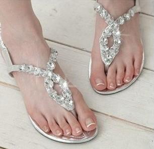 2014 Direct Selling Freeshipping Medium(b,m) Open Shoes Women Open Toe Hot Selling Shining Diamond Flat Women's Shoes Sandals