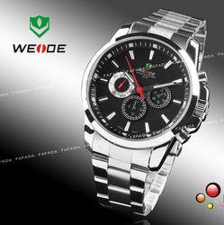 weide brand quartz watch wristwatches mens boys dive swiss movement six hands fashion black military watches in an box for gift(China (Mainland))