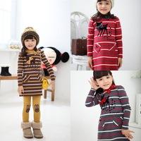 2014  new arrival Children's clothes Little Fawn Stripe Dress Girl's suit /2pcs Long sleeve dress+Leggings Girl's Set