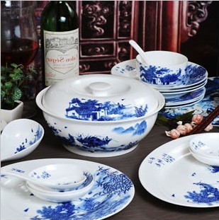 China Jingdezhen 56 bone china blue and white glazed ceramic cutlery set Yangtze River Delta tableware set tableware porcelain(China (Mainland))