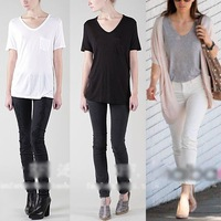 Fashion Women Ladies Basic V-Neck short-sleeved Loose Cotton Trend T-shirt Blouse Tops Tees Plus size New 2014  Hot Selling