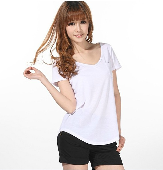 Fashion Women Ladies Basic V-Neck short-sleeved Loose Cotton Trend T ...