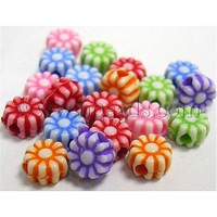 Colorful Acrylic Beads,  Craft Style,  Flower,  Mixed Color,  Size: about 5mm in diameter,  hole: about 1mm