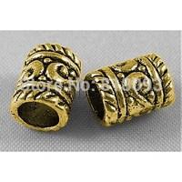 Tibetan Silver Beads,  Column,  Antique Golden,  Lead Free & Cadmium Free & Nickel Free,  9x7mm,  Hole: 3.5mm