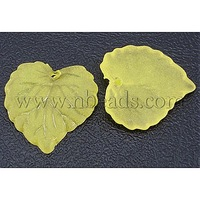Transparent Acrylic Pendants,  Frosted,  Leaf,  Yellow,  Dyed,  about 16mm long,  15mm wide,  2mm thick,  hole: 1.2mm