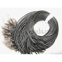 "Stock Deals Rubber Necklace Cord,  with Iron Findings,  Black,  Nickel Color,  about 17""/strand, 3mm in diameter"