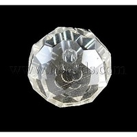 Handmade Glass Beads,  Faceted Round,  Pearl luster Plated,  Clear,  10mm in diameter,  7mm thick,  hole:1mm