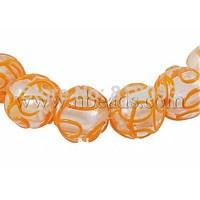 Handmade Bumpy Silver Foil Glass Beads Strands,  Round,  DarkOrange,  about 18mm in diameter,  hole: 3mm