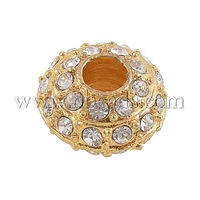 Stock Deals Alloy Rhinestone Beads,  Grade A,  Golden Metal Color,  Size: about 16mm in diameter,  9mm thick; hole: 5mm