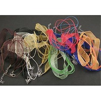 Jewelry Making Necklace Cord,  with 2 Threads Wax Cord,  Organza Ribbon and Iron Findings,  Mixed Color,  17""