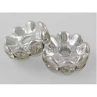 Stock Deals Middle East Rhinestone,  Clear,  Brass,  Silver Metal Color,  Nickel Free,  Size: about 6mm in diameter