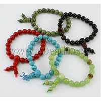 Stock Deals Buddha Beads Bracelet,  precious stone Beads,  Mixed Color,  about 6cm inner diameter; Beads: about 8mm in diameter