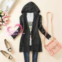 2013 spring new arrival casual women's long-sleeve knitted sweater outerwear medium-long hooded cardigan