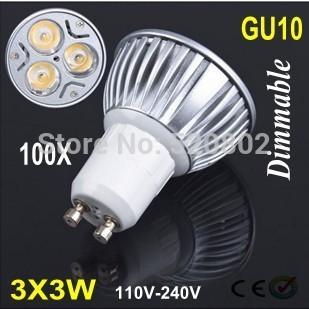 100X New Arrived Dimmable High Power GU10 E27 MR16  9W LED Bulb Downlight Lamp Spotlight LED Lighting Free shipping!