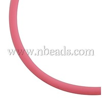 Synthetic Rubber Cord,  No Hole,  Pink,  about 3mm in diameter,  about 160m/2000g