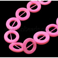 Shell Beads Strands,  Spray Painted,  Donut,  Pink,  about 20mm in diameter,  3mm thick,  hole: 1mm,  about 20pcs/strand