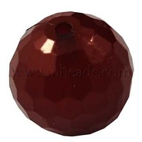 Acrylic Beads,  Imitation Jelly Style,  Faceted Round,  DarkRed,  about 20mm in diameter,  hole; 2mm,  about 111pcs/500g