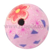 Closeout Handmade Polymer Clay Beads,  Pink,  Round,  about 8mm in diameter,  hole: 1mm