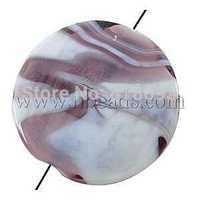 Handmade Lampwork Beads,  Flat Round,  Purple,  27mm in diameter,  hole: 2mm