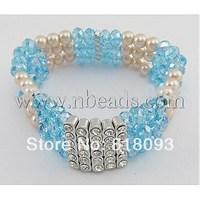 Glass Bracelet,  SkyBlue,  about 50mm in diameter,  Bead: about 5~6mm in diameter