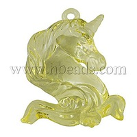Transparent Acrylic Pendant,  Unicorn,  LightYellow,  51mm long,  38mm wide,  15mm thick,  hole: 3mm,  about 44pcs/500g