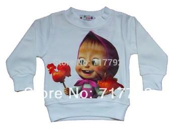 Retail New 2013 boy girl cartoon T-shirt cotton kids t shirt Children clothes Masha and Bear