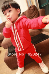 free shipping 2013 new fashion kids hoodies set Jacket+Pants cotton set 3 color Autumn Winter chindren clothing(China (Mainland))