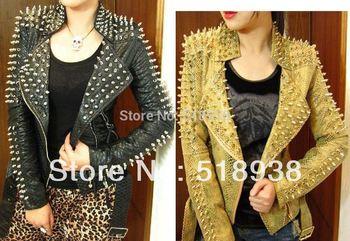 New 2014 Women zipper black glod Punk Strong Spike Rivet Studded Shoulder Snake Pattern PU Leather Jacket Coat autumn streetwear