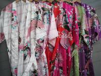 2014 Top Sales Woman High quality silk  satin kimono robes,Bathrobes,14 Colors Available S M L XL XXL XXXL Free shipping