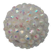 Resin Rhinestone Beads,  DIY Material for Jewelry Making,  Round,  White,  about 20mm in diameter,  hole: 2mm